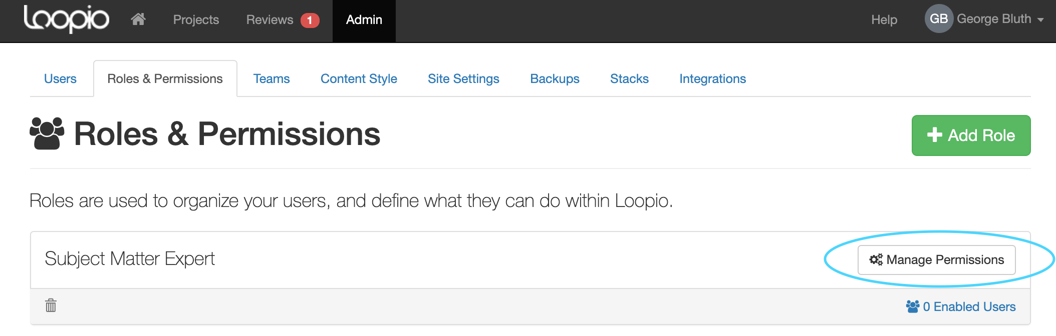 A screenshot of the Loopio Admin Roles and Permissions page, Manage Permissions button