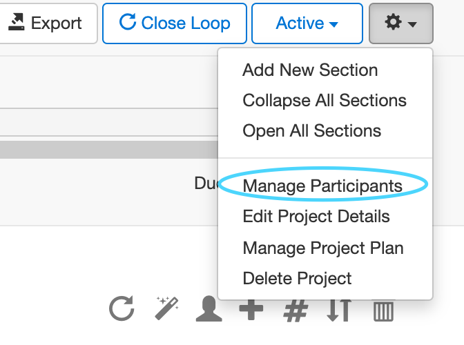 A screenshot of Loopio's Manage Participants modal for Projects