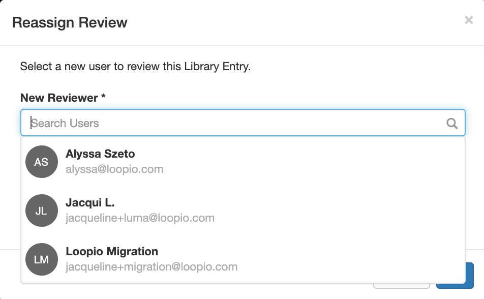 A_screenshot_of_the_Reassign_Review_modal_with_the_New_Reviewer_dropdown_exposed.png