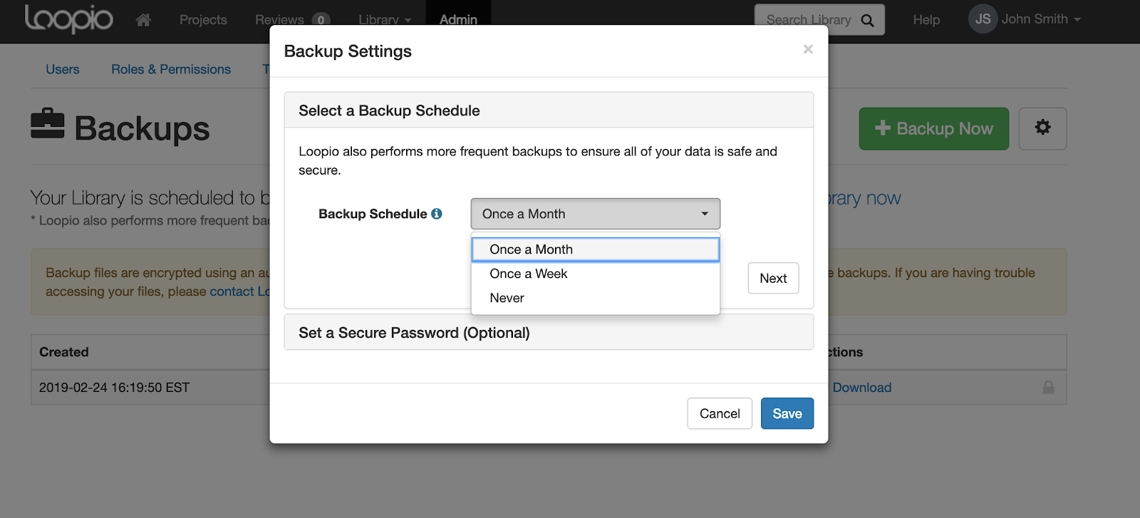 A_screenshot_of_the_Backup_Settings_modal_with_the_Backup_Schedule_dropdown_selected.png