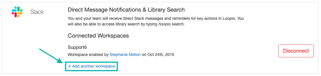 Screenshot_of_the_Integrations_screen_Slack_section_with_the_connect_link_indicated_-_additional_workspace.png