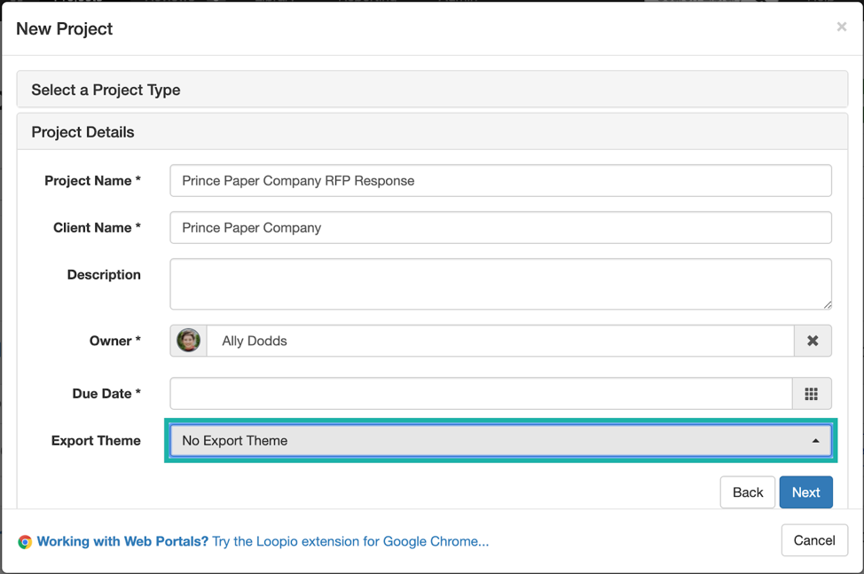 Loopio_Create_Project_Modal_with_the_Export_Theme_dropdown_indicated.png